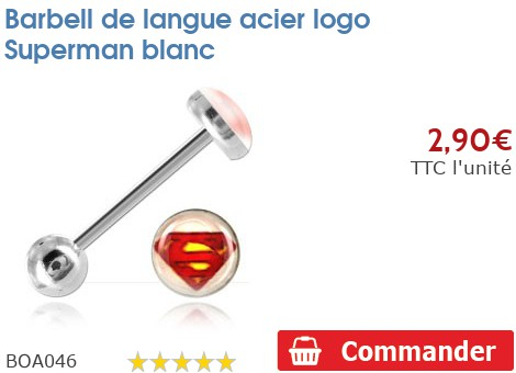 Barbell de langue acier logo Superman blanc