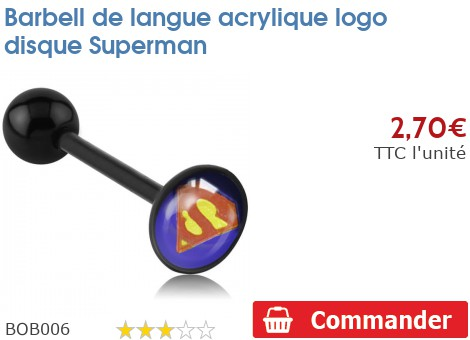 Barbell de langue BioSafe logo Superman