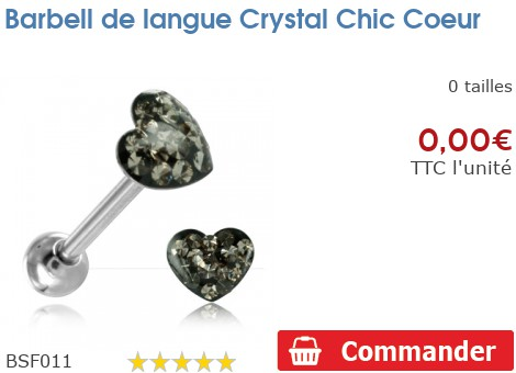 Barbell de langue Crystal Chic Coeur