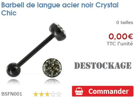 Barbell de langue acier noir Crystal Chic