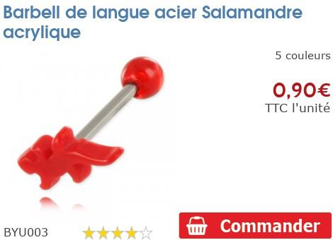 Barbell de langue acier Salamandre acrylique