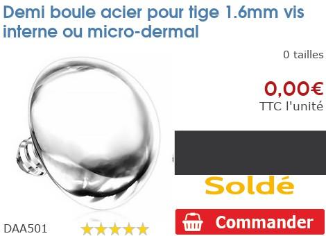 Demi boule acier pour micro-dermal 1.6mm