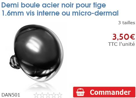 Demi boule acier noir pour micro-dermal 1.6mm