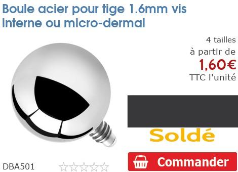 Boule acier pour micro-dermal 1.6mm