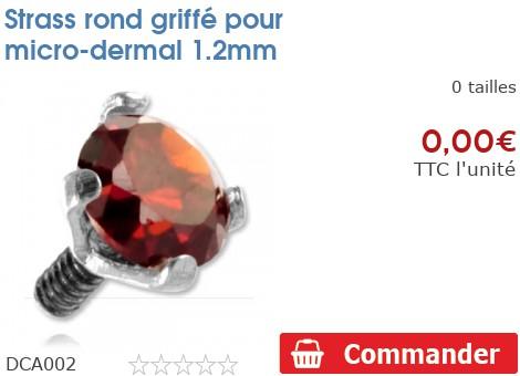 Strass rond griffé pour micro-dermal 1.2mm
