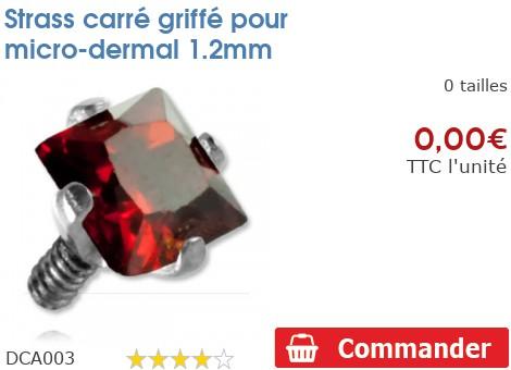 Strass carré griffé pour micro-dermal 1.2mm