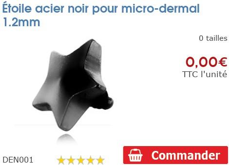 Étoile acier noir pour micro-dermal 1.2mm