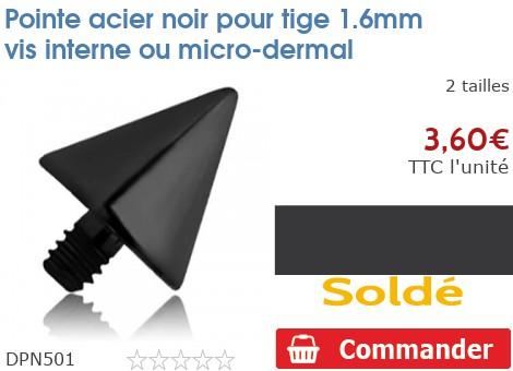 Pointe acier noir pour micro-dermal 1.6mm