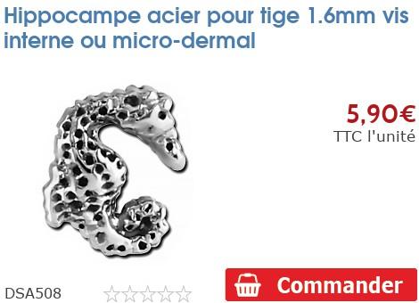Hippocampe acier pour micro-dermal 1.6mm