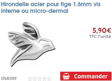Hirondelle acier pour micro-dermal 1.6mm