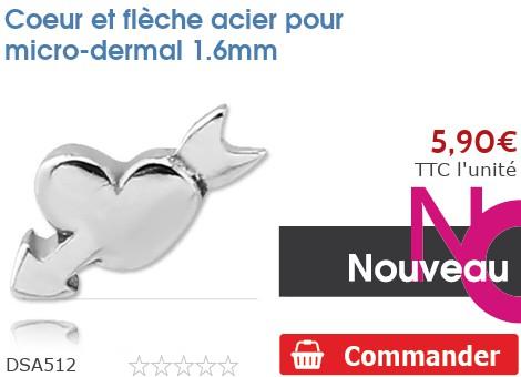 Coeur et flèche acier pour micro-dermal 1.6mm