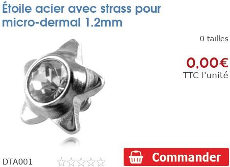 Étoile acier avec strass pour micro-dermal 1.2mm