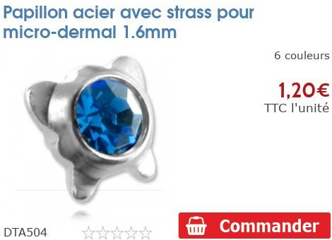 Papillon acier avec strass pour micro-dermal 1.6mm