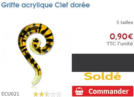 Griffe acrylique Clef dorée