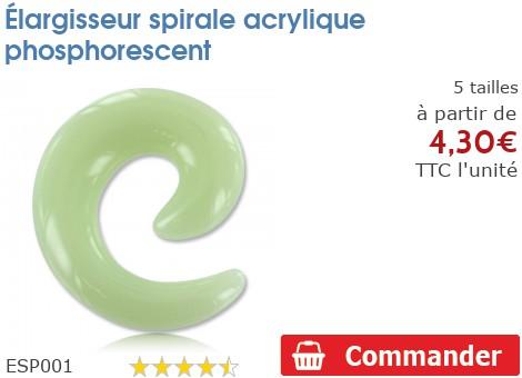 Elargisseur spirale acrylique phosphorescent
