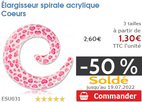 Élargisseur spirale acrylique Coeurs