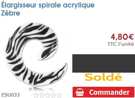Élargisseur spirale acrylique Zèbre