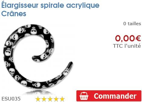 Élargisseur spirale acrylique Crânes