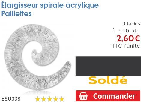 Elargisseur spirale acrylique Paillettes