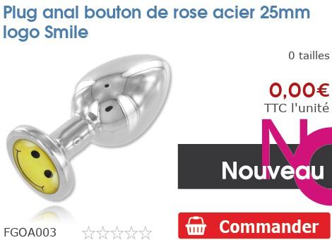 Plug anal rosebud acier 25mm logo Smiley