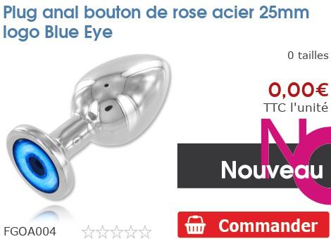 Plug anal rosebud acier 25mm logo Blue Eye