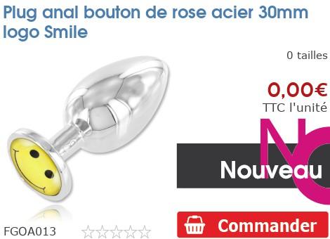 Plug anal rosebud acier 30mm logo Smiley