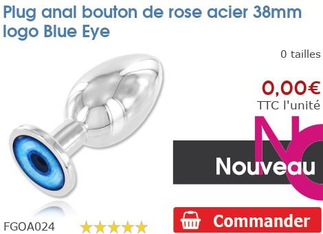 Plug anal rosebud acier 38mm logo Blue Eye