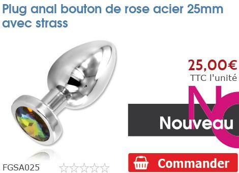 Plug anal Rosebud acier 25mm avec strass