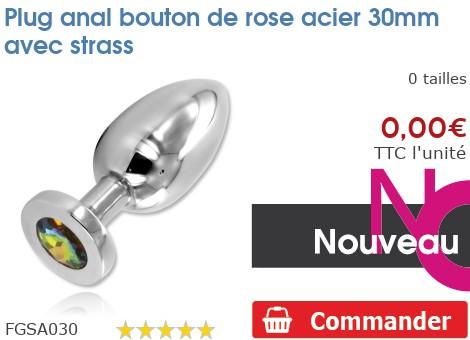 Plug anal Rosebud acier 30mm avec strass