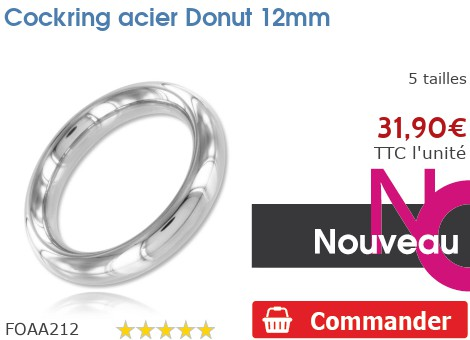 Cockring anneau à pénis acier Donut 12mm