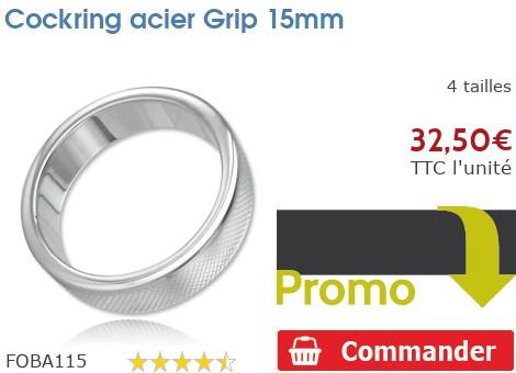 Cockring anneau à pénis acier Grip 15mm