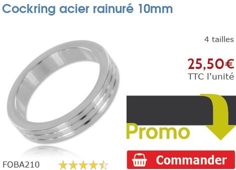Cockring anneau à pénis acier rainuré 10mm