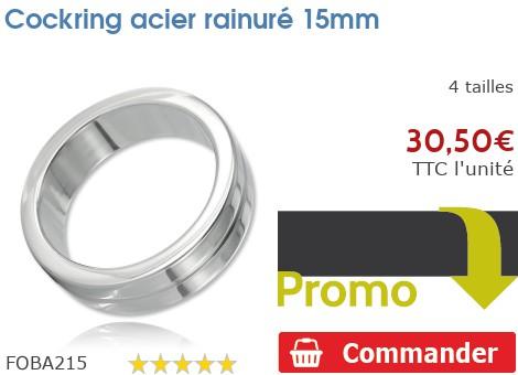 Cockring anneau à pénis acier rainuré 15mm