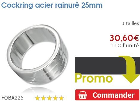 Cockring anneau à pénis acier rainuré 25mm