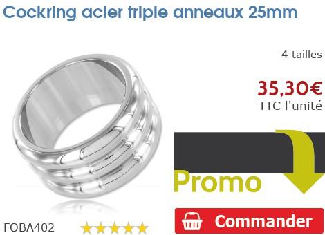 Cockring anneau à pénis acier triple anneaux 25mm