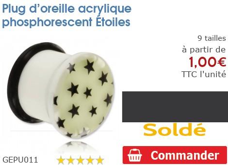 Plug acrylique phosphorescent Etoiles