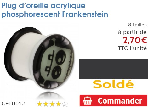 Plug acrylique phosphorescent Frankenstein