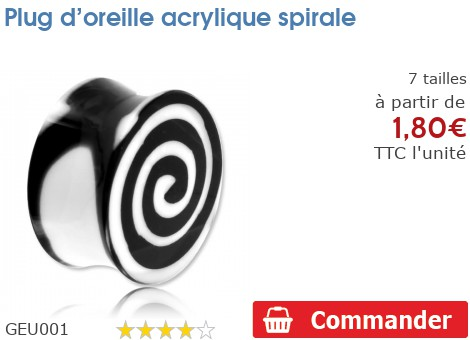 Plug acrylique spirale