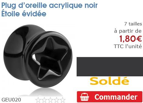 Plug acrylique noir étoile évidée