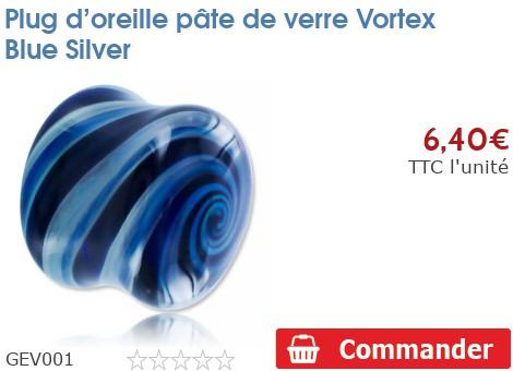 Plug épaulé en pâte de verre Vortex Blue Silver
