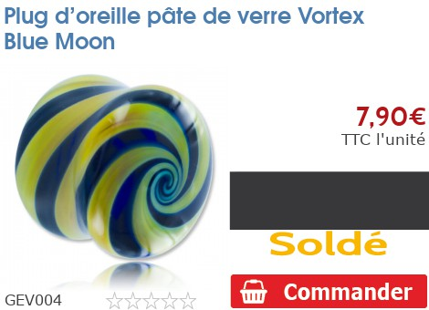 Plug épaulé en pâte de verre Vortex Blue Moon