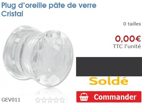 Plug épaulé en pâte de verre Cristal