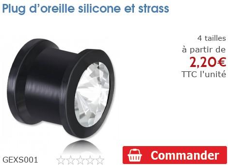 Plug épaulé silicone et strass