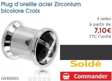 Plug acier vissable Zirconium bicolore Croix