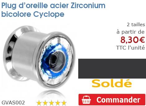 Plug acier vissable Zirconium bicolore Cyclope