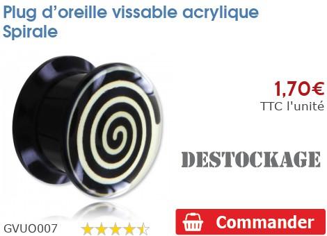 Plug vissable acrylique Spirale
