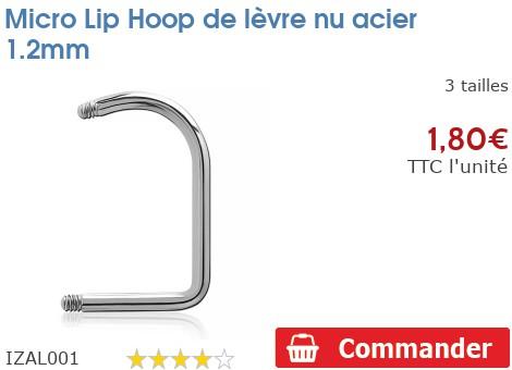 Micro Lip Loop de lèvre nu acier 1.2mm