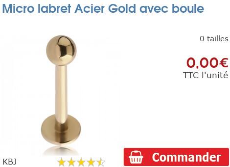 Micro labret Gold PVD avec boule