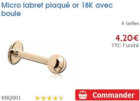 Micro labret plaqué or 18K avec boule