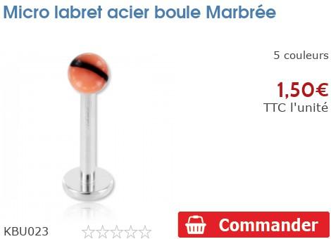 Micro labret acier boule acrylique Marbrée